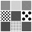 Stock Photo: Vector striped and polkdots patterns