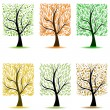 Stock Vector: Art trees collection