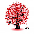 Valentine tree — Vector de stock