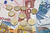 Monete e valuta euro — Foto Stock
