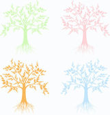 Art trees collection — Stock Vector