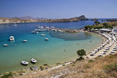 Beautiful view of Lindos harbour — Stock Photo