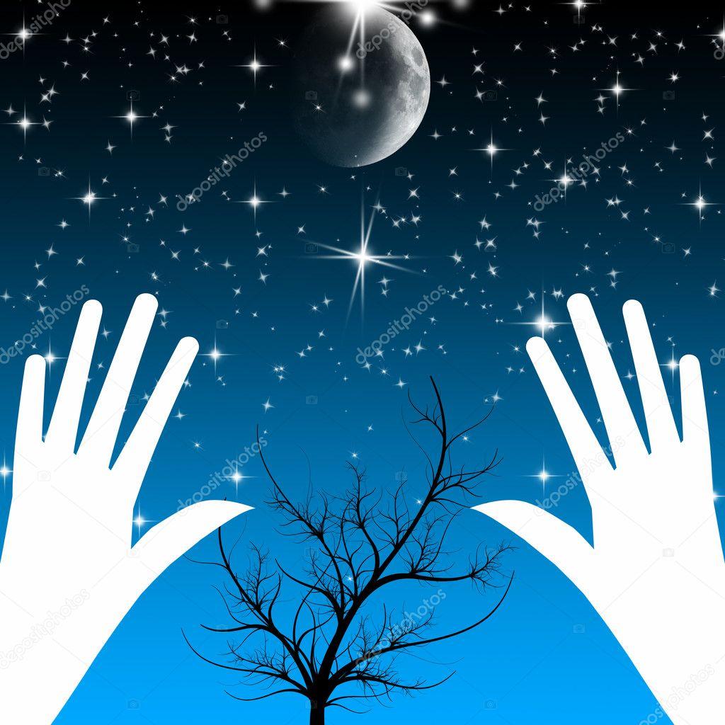 颗明亮的星星和月亮的美丽夜景