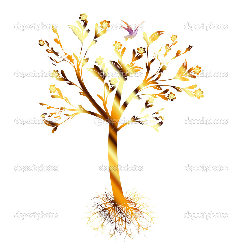 Colorful art tree with roots isolated on white background — Stock Vector #6542253