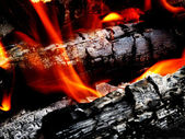 Campfire with Hot Coals — Stock Photo