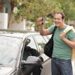Man with a new car — Stock Photo