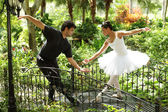 Ballerinas dancing in the park — Stock Photo