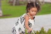 Colhendo flores de criança — Fotografia Stock