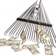 Stock Photo: Raking in Money