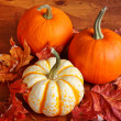 Stock Photo: Fall Pumpkins and Decorative Squash