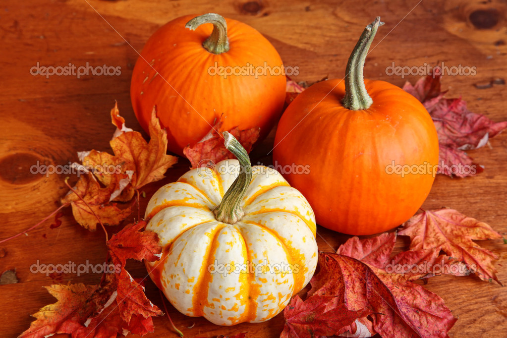Fall pumpkin and decorative squash with autumn leaves on a wooden table. — Stock Photo #5781831