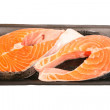 Packaged Atlantic Salmon Steaks — ストック写真