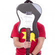 Guitarist holding a guitar over face — Stock Photo #5435811
