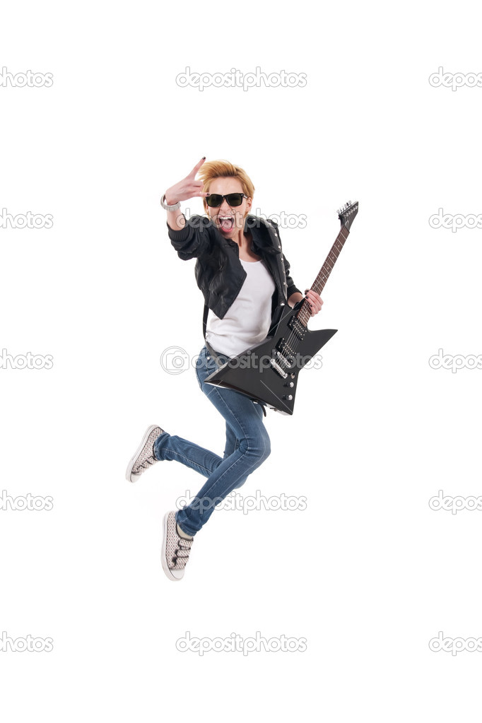 Rockstar screaming and jumping with electric guitar making rock sign over white — Stock Photo #5435761