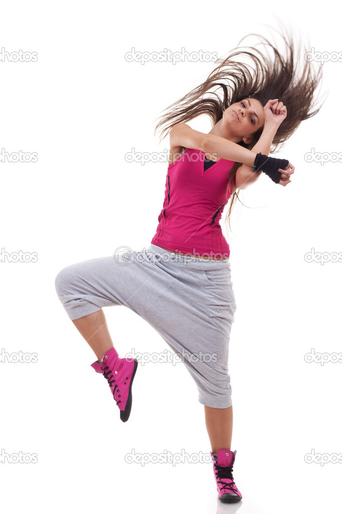 Headbanging modern style dancer posing on studio background  — Stock Photo #5435866
