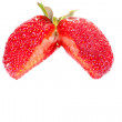 Cut strawberry on a white background - Stock Photo
