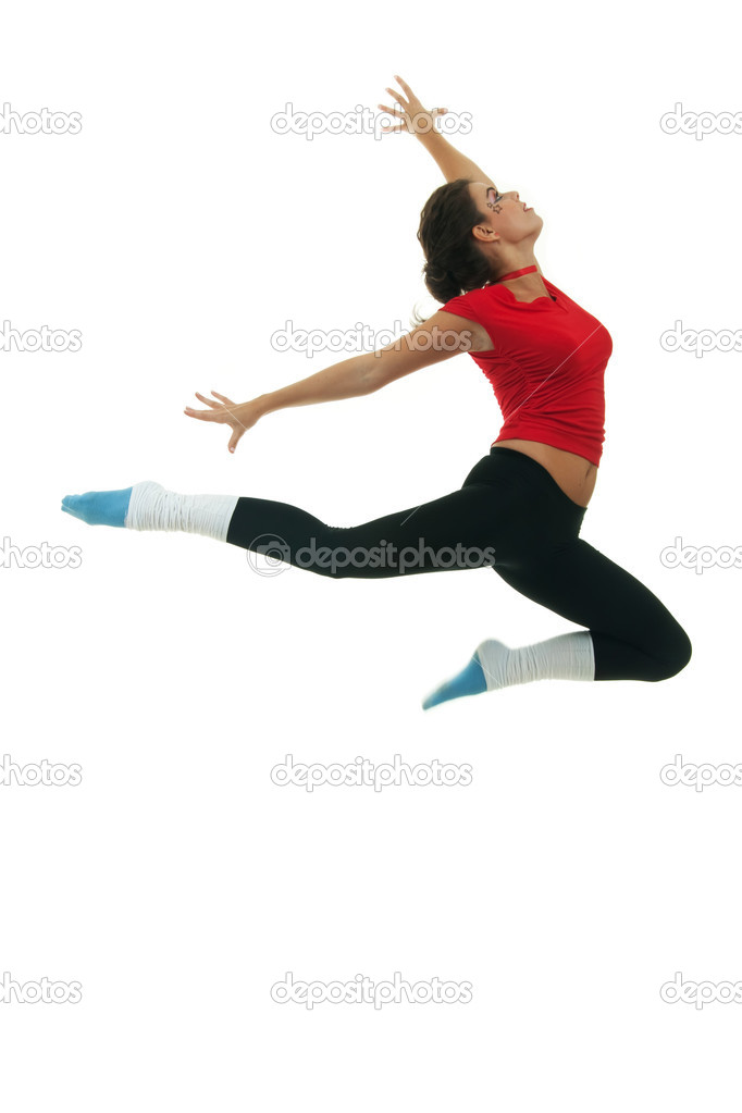 Modern style dancer jumping on white background  — Stock Photo #5686243