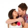 Embraced couple ready to kiss — Stock Photo