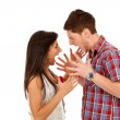Stock Photo: Young couple yelling at each othe