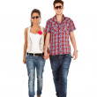 Young happy couple walking — Stock Photo