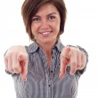Beautiful business woman pointing on you — Stock Photo