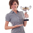 Business woman winning a trophy — Stock Photo