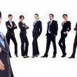 Businesswoman welcoming to her successful business team — Stock Photo