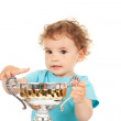 Little boy with a gold cup — Stock Photo