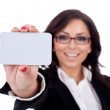 Businesswoman presenting her businesscard — Stock Photo #6026201
