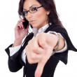 Businesswoman with thumb down gesture - Stock Photo