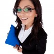 Business woman holding a clipboard — Stock Photo #6026273