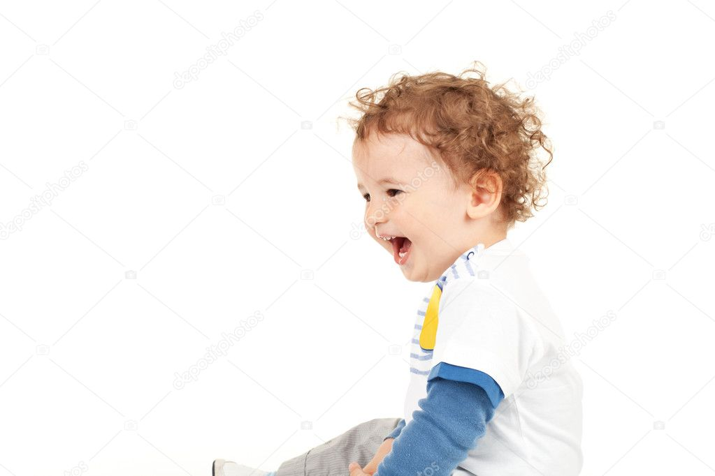 Little boy laughing and looking a side — Stock Photo #6026114