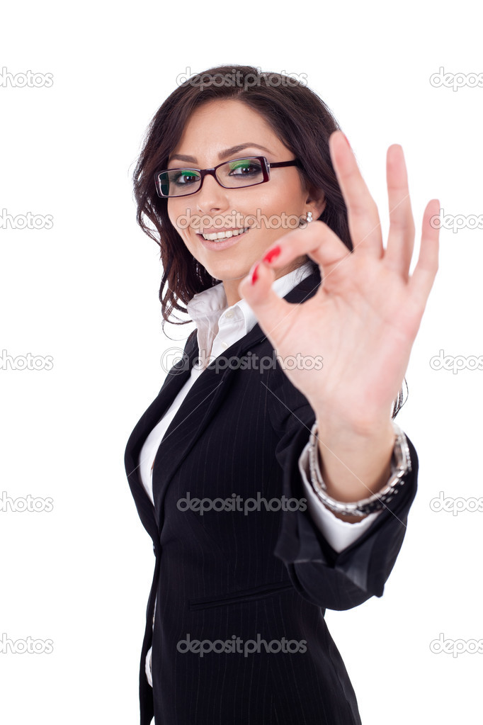 Business woman satisfied with results — Stock Photo ...