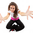 Dancer poses with her arms open — Stock Photo
