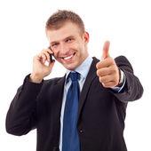 Большой палец вверх на телефоне — Стоковое фото