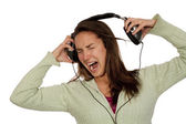 Woman listening loud music — Stock Photo