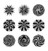 Illustrated decorative set of circular floral shapes and swirling designs; — Stock Vector