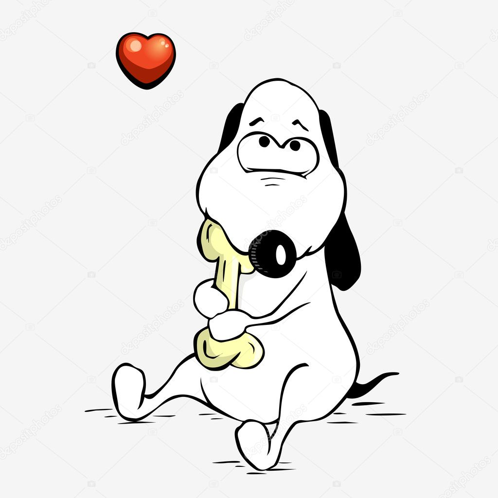 Cartoon of a dog which is in love with a bone  Stock Vector #5749073