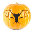Halloween pumpkin with cut out bat — Stock Photo