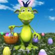 Royalty-Free Stock Photo: Cute cartoon monster with easter basket.