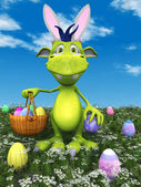 Cute cartoon monster with easter basket. — Stock Photo