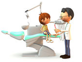 Cartoon boy visiting the dentist. — Stock Photo