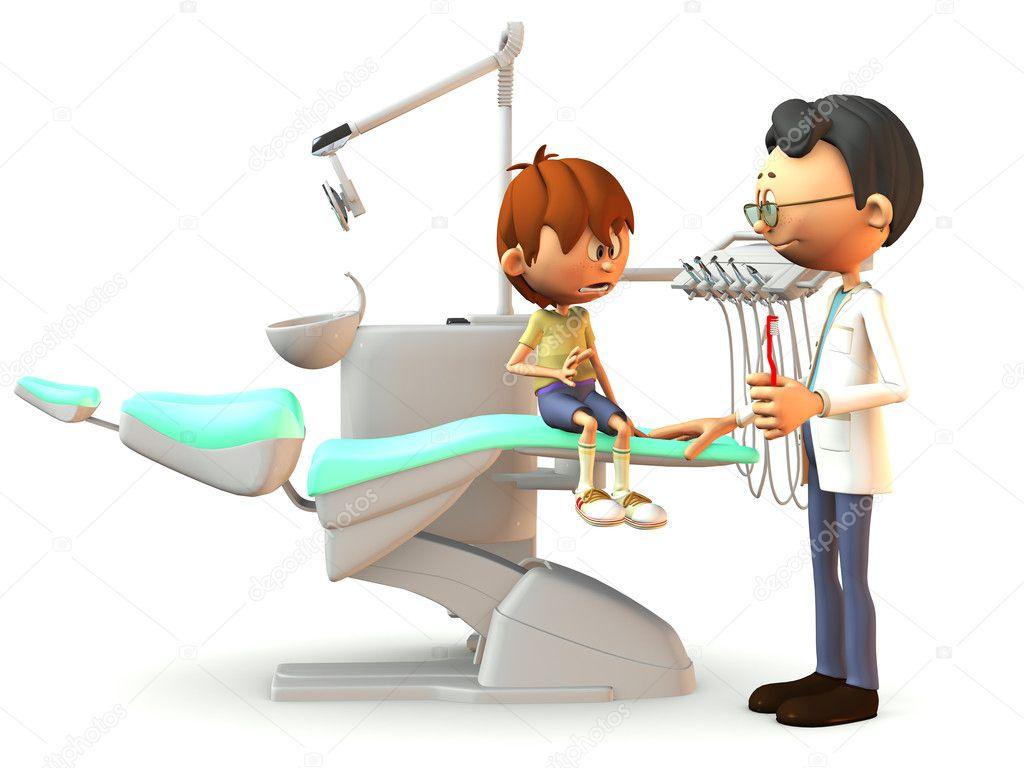 Chico Asustado Dibujos Animados Visitando Al Dentista