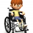 Stock Photo: Sad cartoon boy in wheelchair.