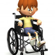 Sad cartoon boy in wheelchair. - Stock Photo