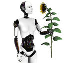 Robot woman holding a sunflower. — Stock Photo