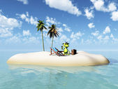 Cute cartoon monster taking vacation on island. — Stock Photo
