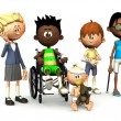 Five injured cartoon kids. — Stock Photo