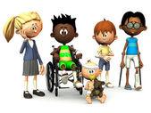 Five injured cartoon kids. — Stock Photo