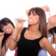 Happy Young Women Brushing their Teeth — Stock Photo